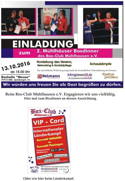 Einladung zum 2. Mühlhäuser Boxdinner 2016