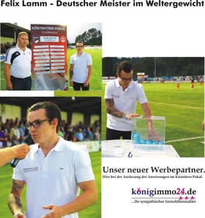 Neuer Werbepartner Felix Lamm beim Köstritzer Pokal Thüringen